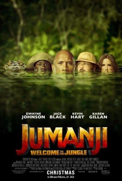 starring Dwayne Johnson, Jack Black, Kevin Hart, and Karen Gillan