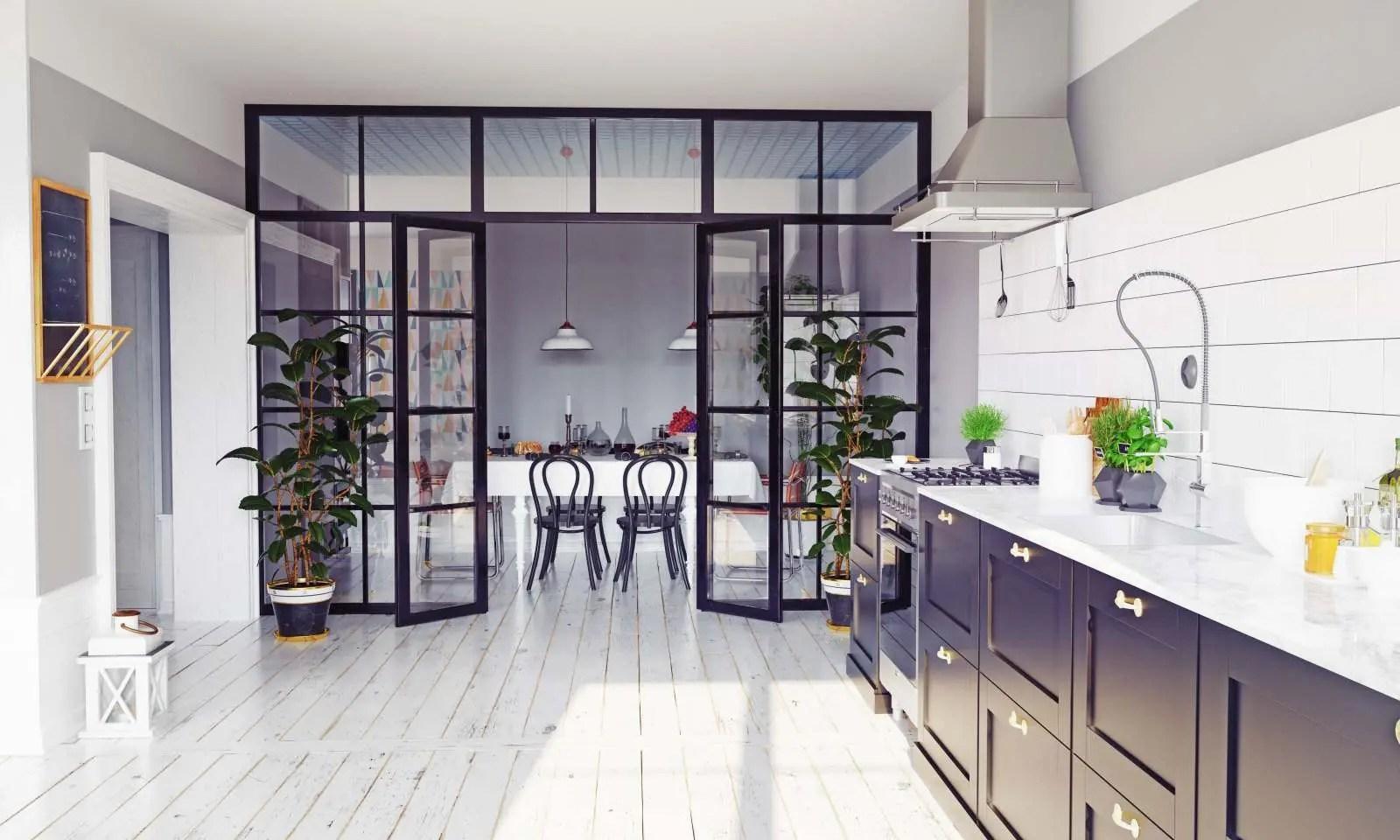 Un tavolo, i divani o addirittura una libreria. Come Dividere Soggiorno E Cucina Con Le Pareti Vetrate Zaza Design