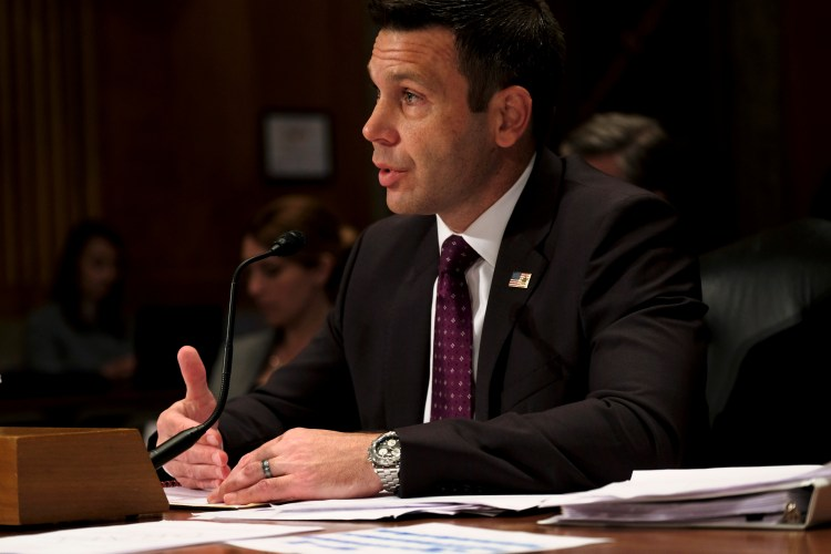 Acting Homeland Security Secretary Kevin McAleenan testifies before the Senate Homeland Security and Governmental Affairs Committee in Washington, May 23, 2019.
