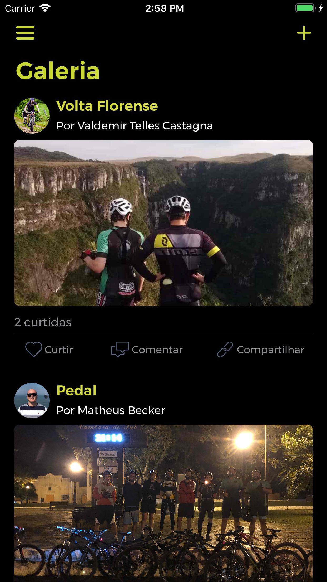 Screenshot do app BIKING