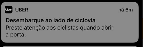Uber / alerta de ciclistas
