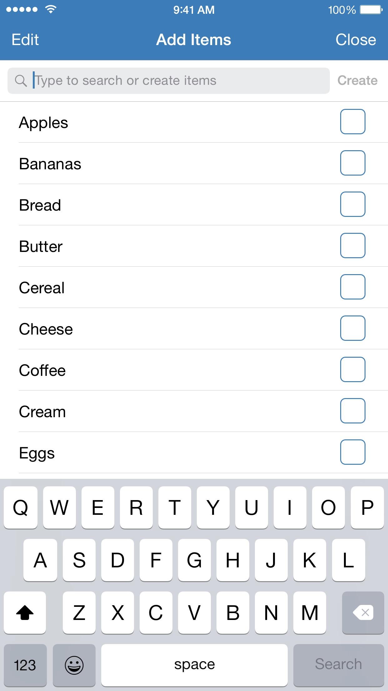 Screenshot do app Shoppy ~ Groceries