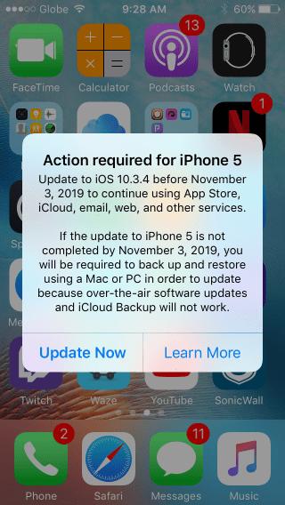 Alerta do iOS 10.3.4 no iPhone 5