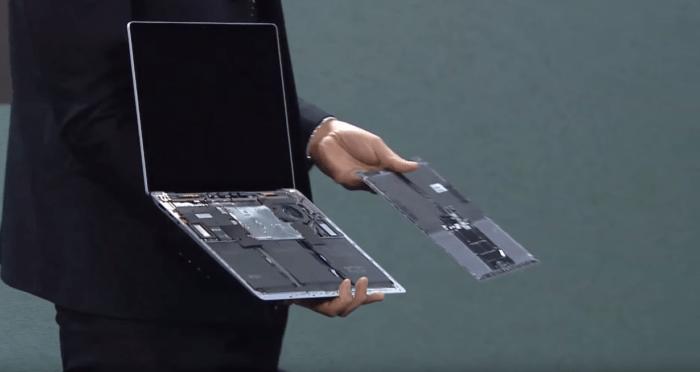 parte interna surface laptop 3