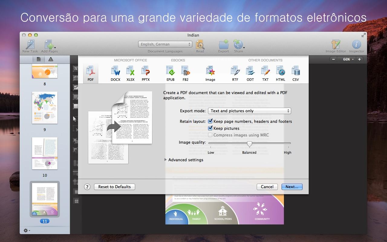 Screenshot do app FineReader OCR Pro