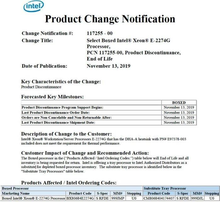 Comunicado da Intel para recall do Xeon E-2274G