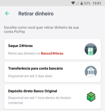 Picpay - saque no Banco24Horas pelo Android