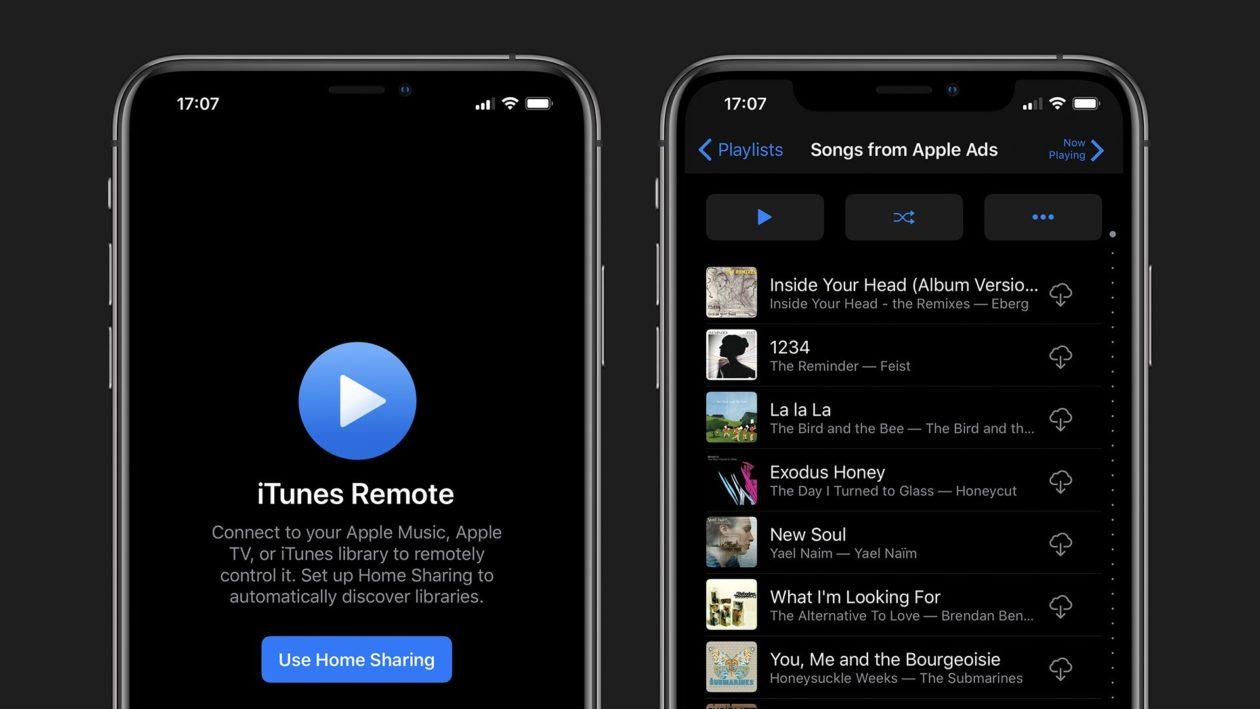 iTunes Remote em modo escuro