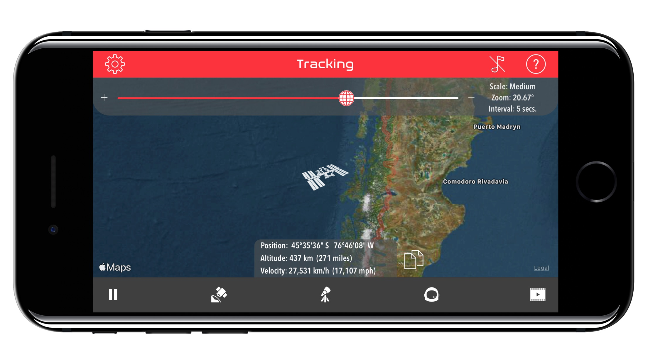 Screenshot do app ISS Real-Time Tracker
