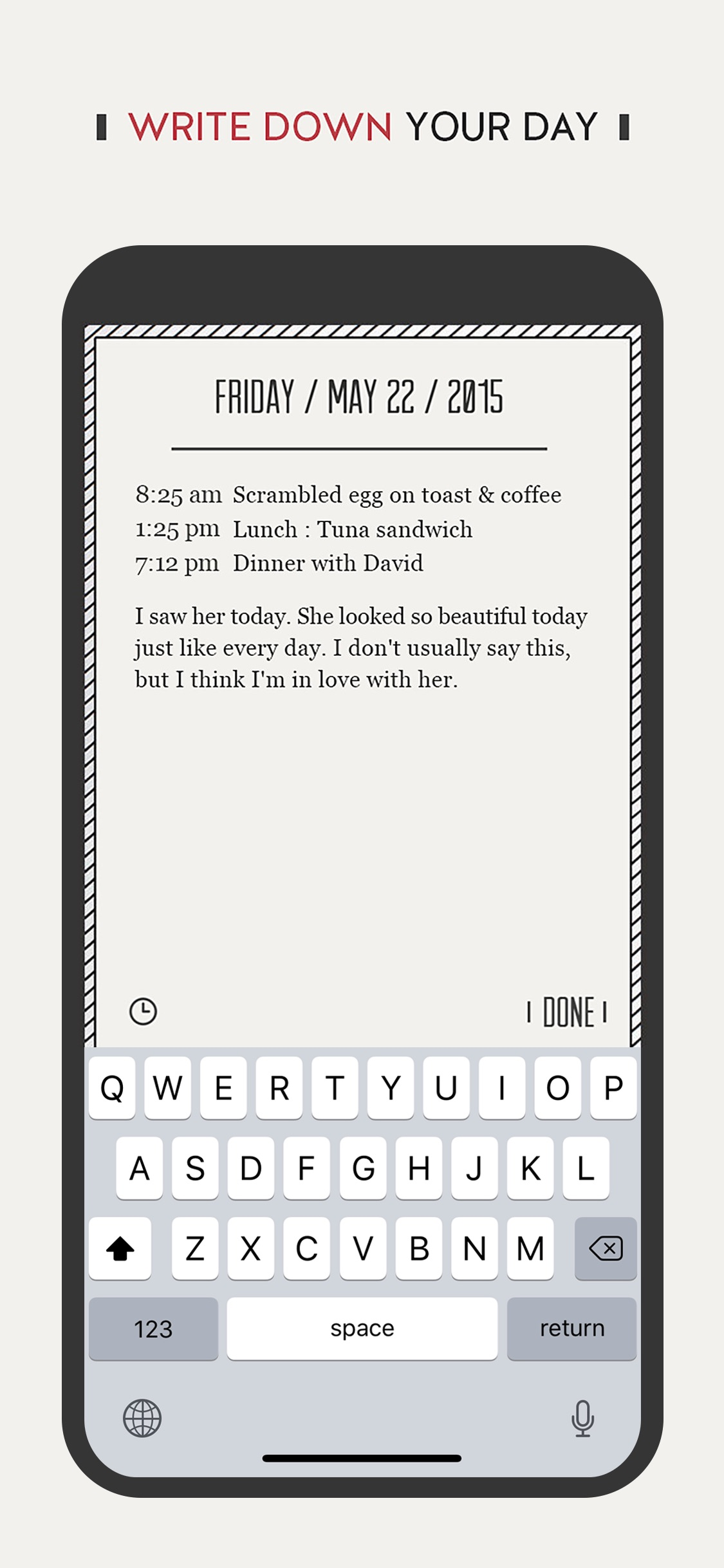 Screenshot do app DayGram - One line a day diary