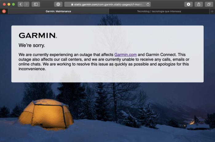 Garmin Connect fora do ar