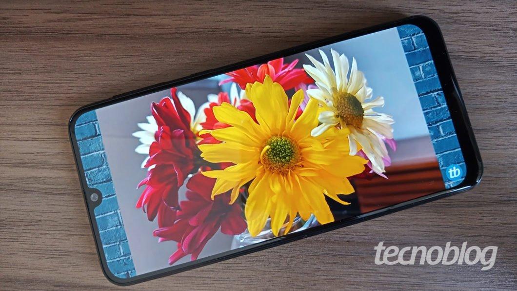 Tela do Galaxy M31 (exibindo um vídeo com flores)