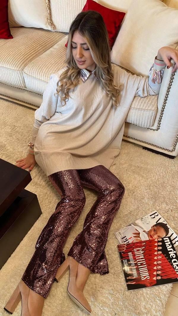 Zazuela παντελόνι παγιέτα ροζ/χρυσό