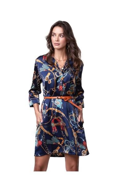 Μπλε εμπριμέ φόρεμα