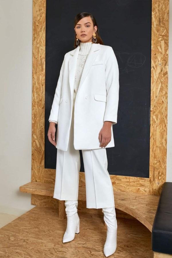 Παλτό λευκό σταυρωτό oversized