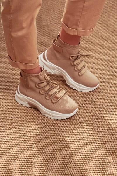 Sneakers ελαστικό μπέζ