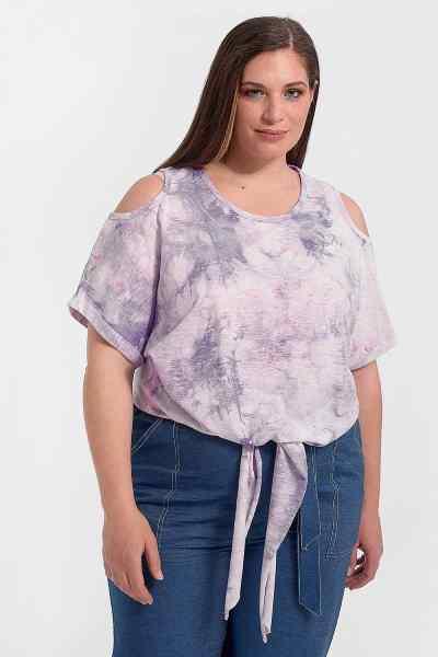 Μπλούζα plus size tie dye με δέσιμο
