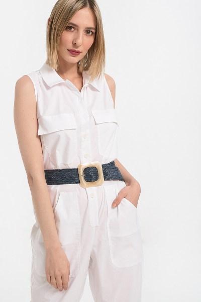 Ολόσωμη φόρμα αμάνικη με τσέπες λευκό