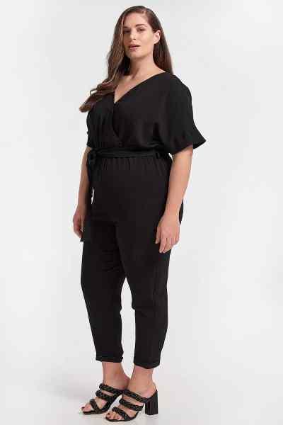 Ολόσωμη φόρμα plus size - μαύρο