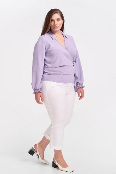 Παντελόνι κάπρι plus size με ρεβέρ άσπρο