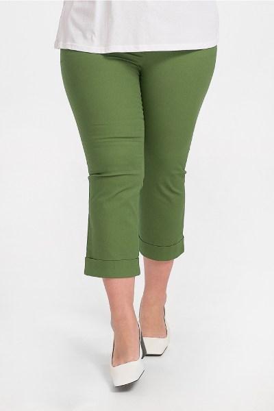 Παντελόνι κάπρι plus size με ρεβέρ πράσινο