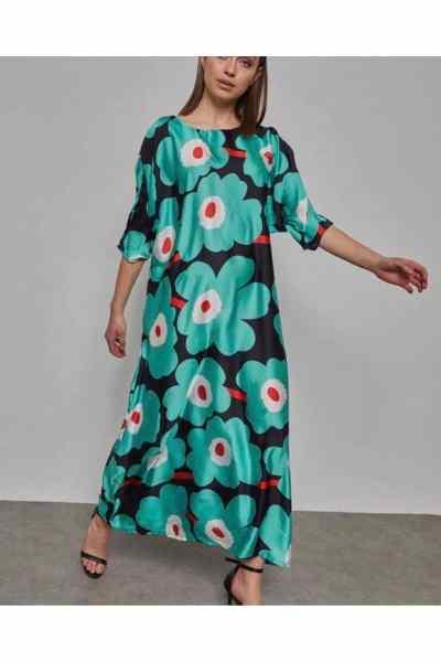 Φόρεμα λουλουδάτο σατέν