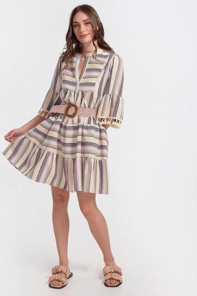 Φόρεμα boho με τρέσα ριγέ