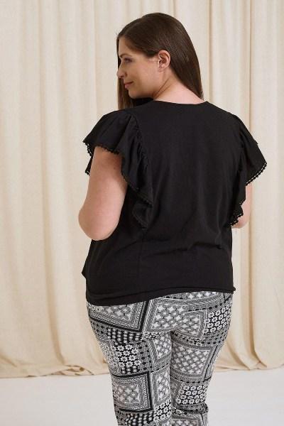 Μπλούζα plus size με δαντέλα στα μανίκια μαύρο