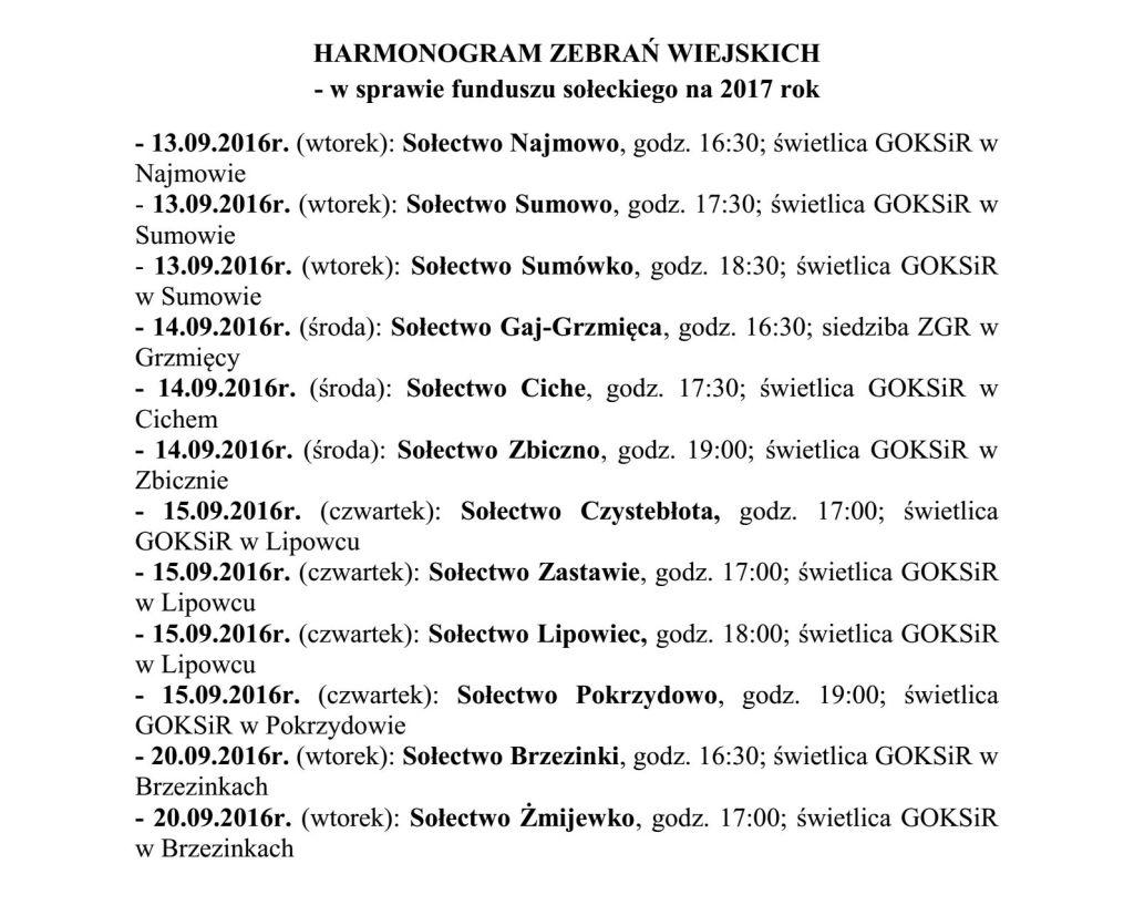 Harmonogram zebran wiejskich nastrone zbiczno.pl