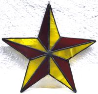 05 - 5er Stern - transparent, meliert gelb und rotbraun