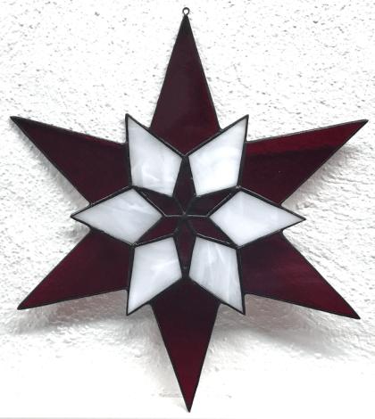 10 - Stern - 6 homogen rot+ 6 weiß meliert