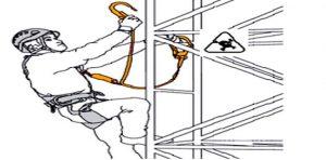 Работа на височина на стълбове - обезопасяване с ремъци