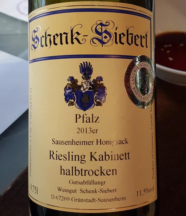 Wino do sushi -Weingut Schenk-Siebert Hönigsack Riesling Kabinett halbtrocken 2013