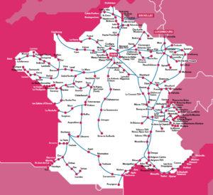 Síť vlaků TGV. Autor: SNCF