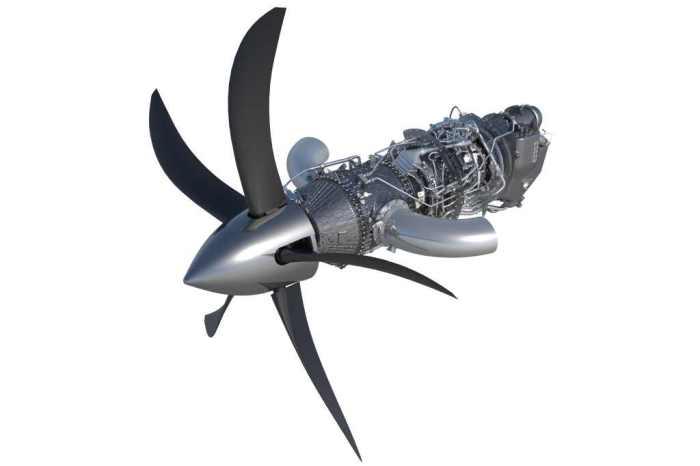 Nový motor společně s vrtulí. Foto: GE Aviation
