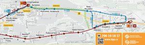 Dopravní opatření při výluce tramvajové trati na Kolbenově ulici. Foto: DPP