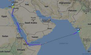 Trasa letu mezi Tel Avivem a Bombají. Foto: Flightradar24.com