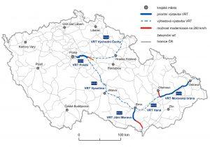 Mapa nových úseků, kde by mohly vzniknout vysokorychlostní tratě. Foto: SŽDC