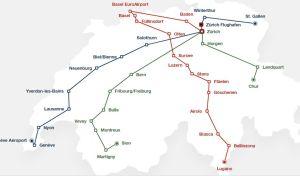 Mapa sítě Eurobus/Flixbus ve Švýcarsku. Foto: Eurobus