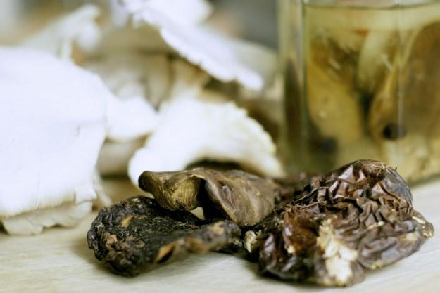 Trzy rodzaje grzybów: swieże, suszone i marynowane.