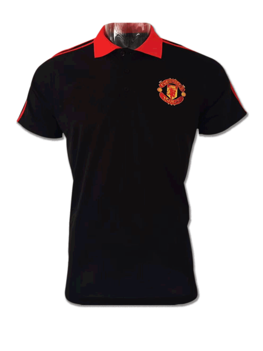 Manchester-United-Black-Color-Red-Collar-Polo-T-Shirt