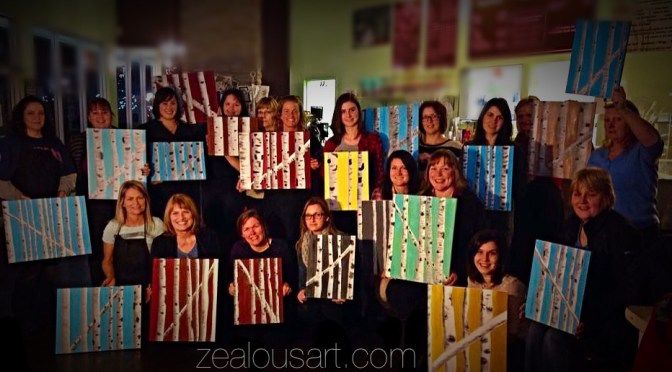 Feb 13 ~ Birch Tree painting pARTy
