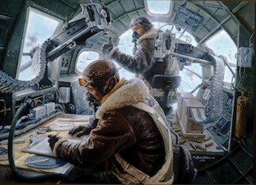 Painting of interior of B-17 nose compartment