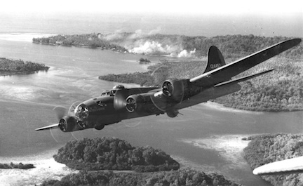 B-17 over Solomon Islands