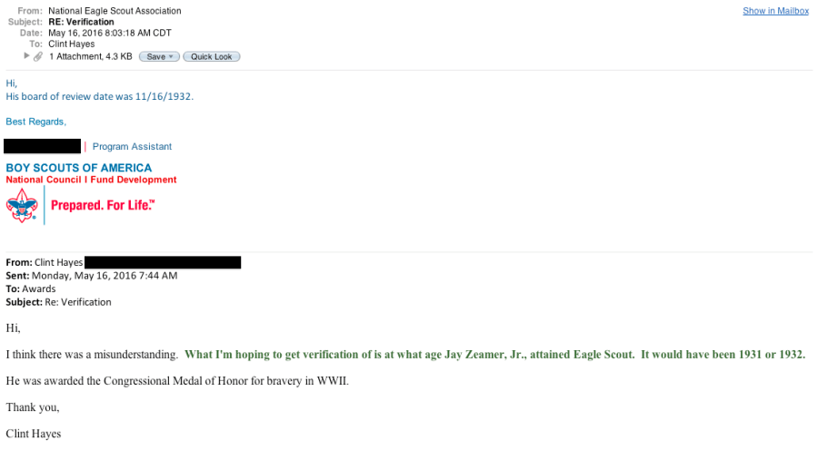 E-mail confirmation of Zeamer becoming Eagle Scout at 14