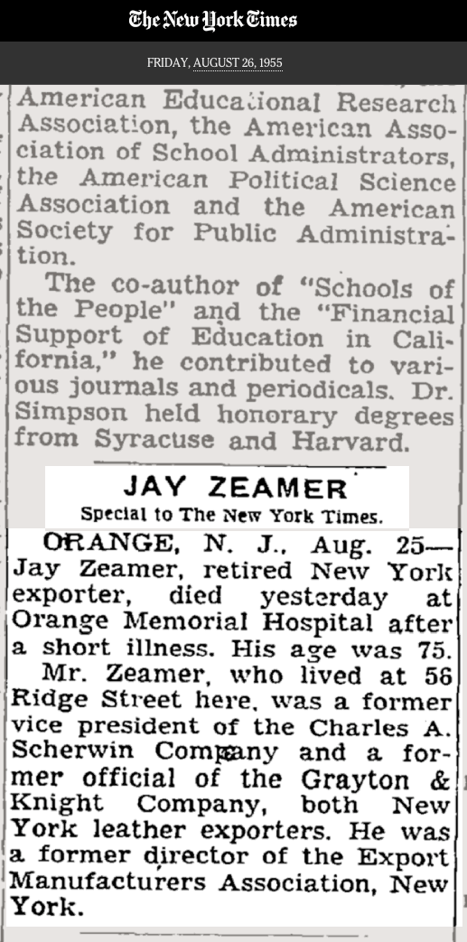 Obituary for Jay Zeamer Sr. (NYT)