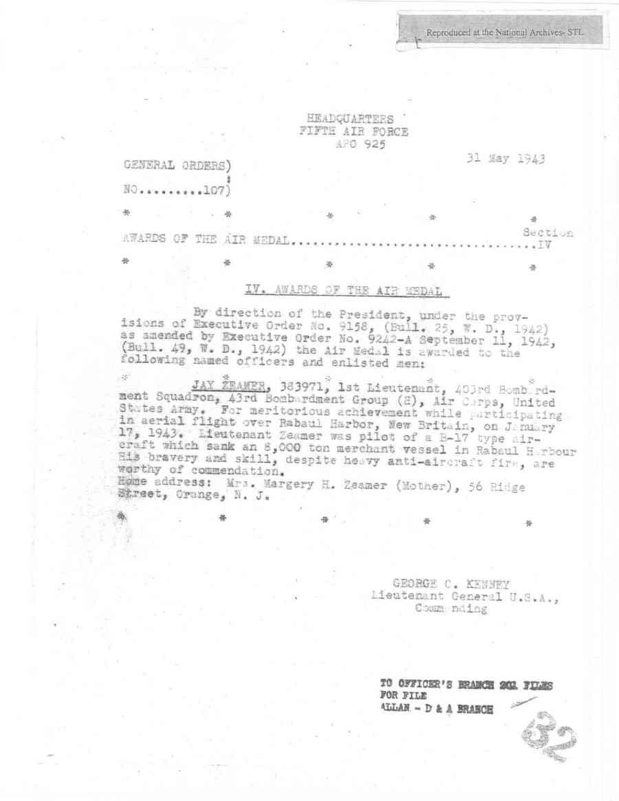 Orders for Jay Zeamer Air Medal