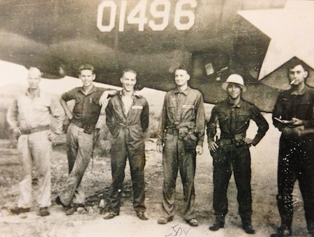 "Photo of Zeamer with B-26 ""Dixie"" crew"