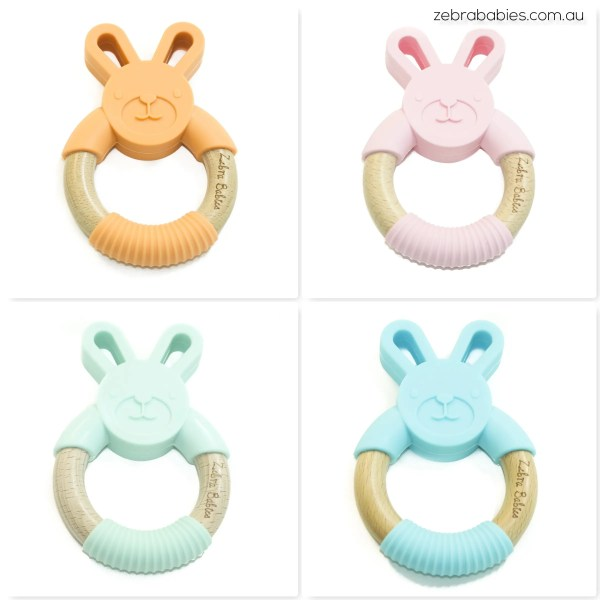 Silicone and Wood Bunny Teether Teething Toy
