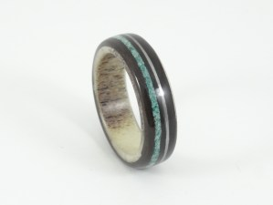 Deer antler and ebony ring with turquoise and guitar string inlays